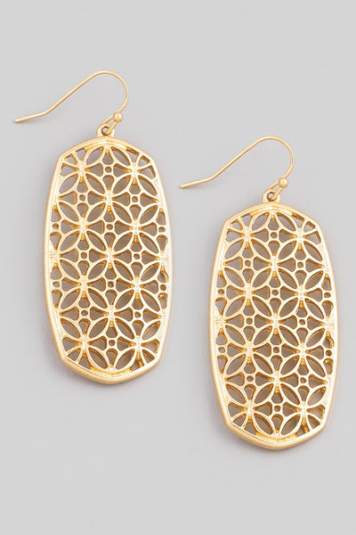 *Oval Stencil Pattern Drop Earrings*