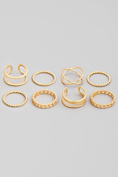 *Gold Eight Piece Assorted Dainty Ring Set*