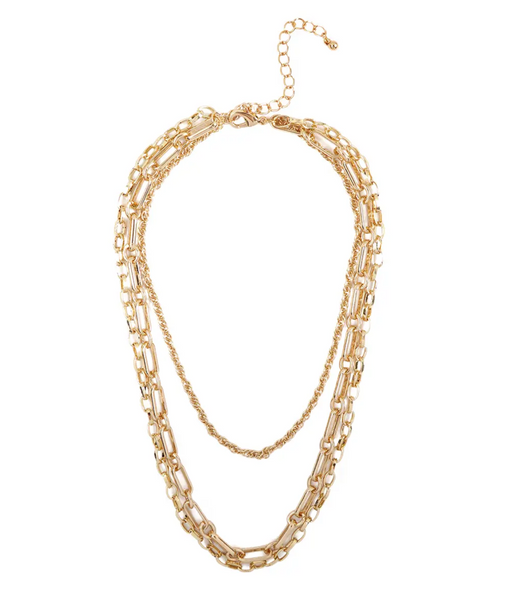 "17"" THREE STYLE LAYERED CHAIN NECKLACE"
