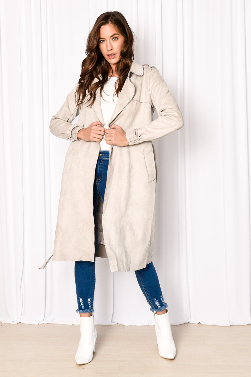 BRAXTON TRENCH COAT - GREY BLUE