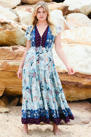 WILD BLOOM DRESS - TEAL