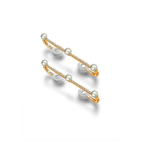 Vertical Line Diamond Ear Cuff with Pearl