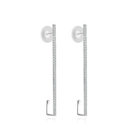 Long Vertical Line Diamond Ear Cuff