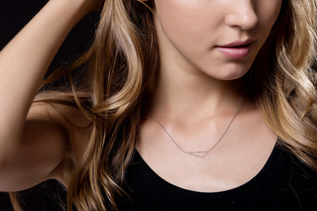 18k Gold Hollow Triangle Diamond Necklace - Genevieve Collection
