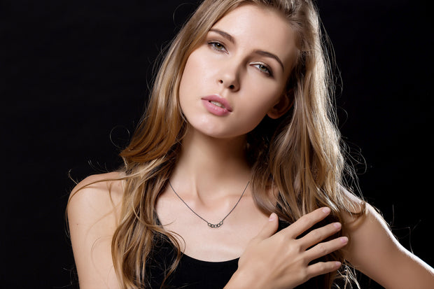 18k Gold Chain Shape Black Diamond Necklace With Black Gold - Genevieve Collection