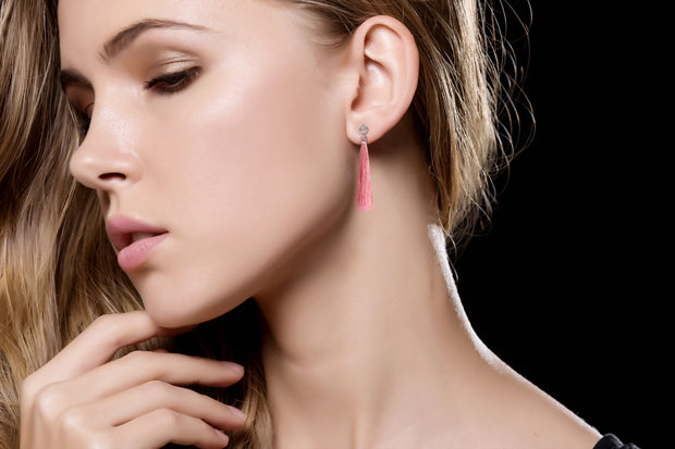 18k Gold Round Shape Diamond Earring with Pink Tassel - Genevieve Collection