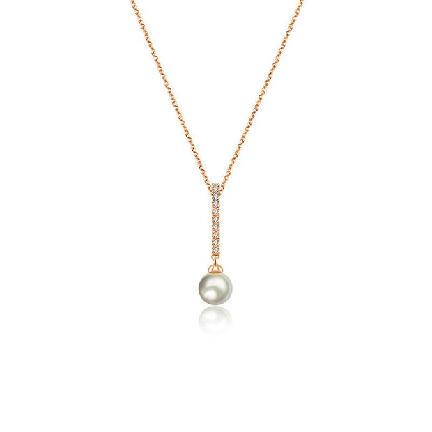 18k Gold 2 ways Line Shaped Diamond Necklace with Pearl
