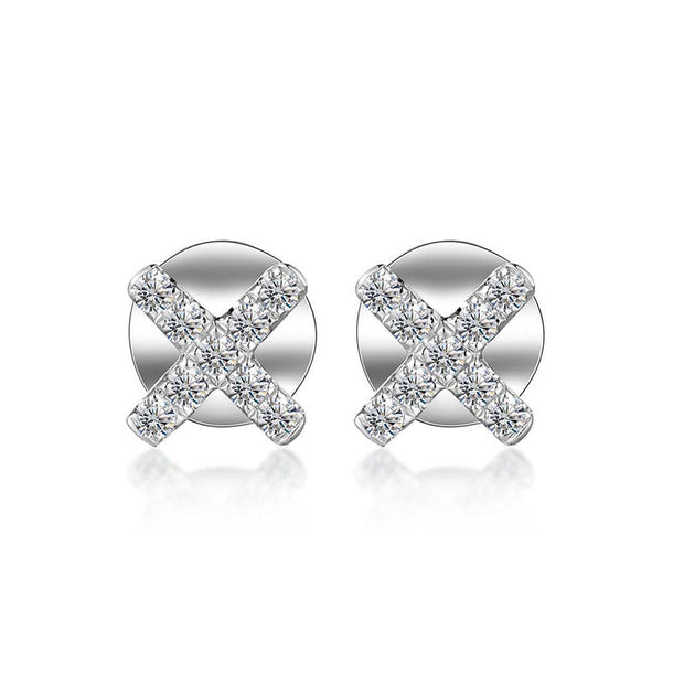 18k Gold Cross White Diamond Earring - Genevieve Collection