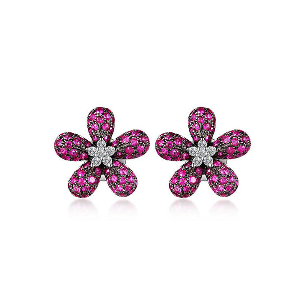 18k Gold Ruby Rohdium Flower Earring - Genevieve Collection