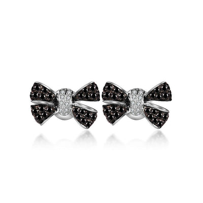18k Gold Black White Diamond Ribbon Earring - Genevieve Collection