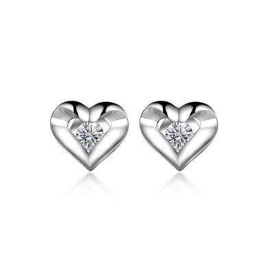 18k Gold Heart Earring - Genevieve Collection