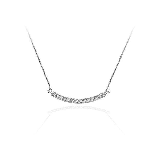 18k Gold Curved Line Diamond Necklace