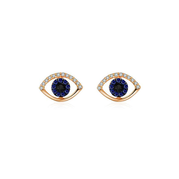 18k Gold Evil Eye Sapphire Diamond Earring - Genevieve Collection