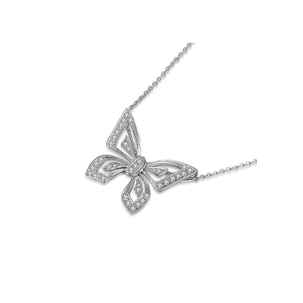 18k Gold Butterfly White Diamond Necklace - Genevieve Collection