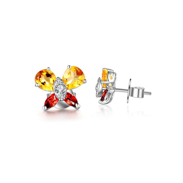 18k Gold Yellow Citrine Garnet Butterfly Earring - Genevieve Collection