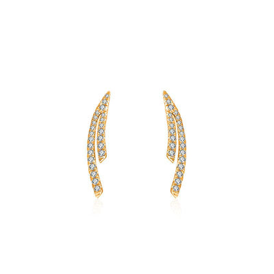 18k Gold Double Curve Diamond Earring - Genevieve Collection