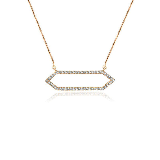 18k Gold Hollow Hexagonal Shape Diamond Necklace - Genevieve Collection