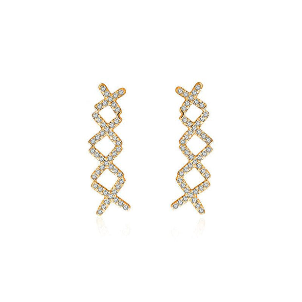 18k Gold Quadruple Cross Diamond Earring