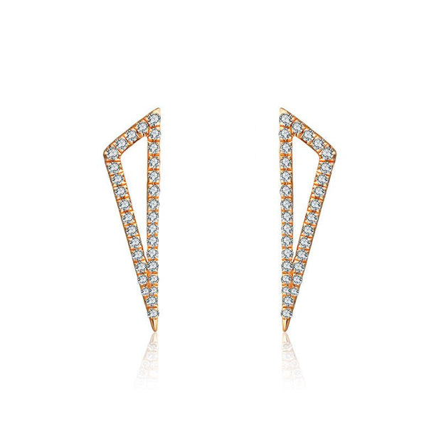 18k Gold Hollow Triangle Diamond Earring