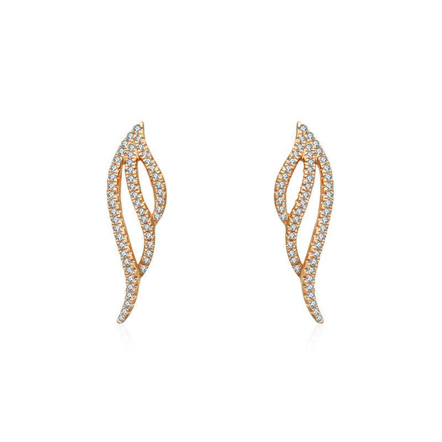 18k Gold Angel Wing Diamond Earring