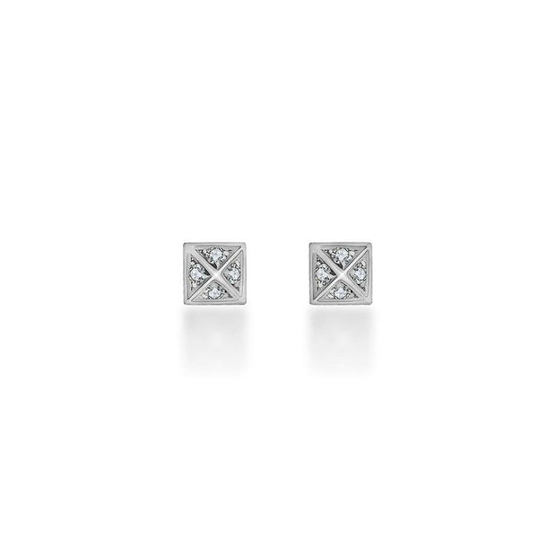 18k Gold Rhombus Shape Diamond Earring