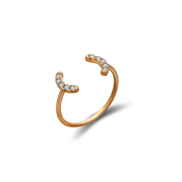 18k Gold Bracket Diamond Midi / Pinky Ring - Genevieve Collection