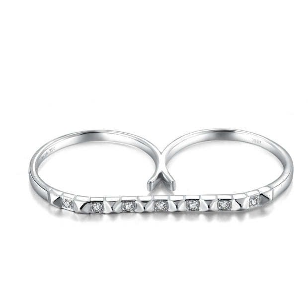 18k Gold Stud Bar Double Ring - Genevieve Collection