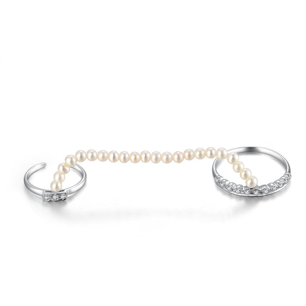 18k Gold Pearl Chain Connection Ring - Genevieve Collection
