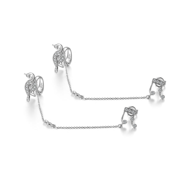 18k Gold Music Earring Chained With Ear Cuff - Genevieve Collection