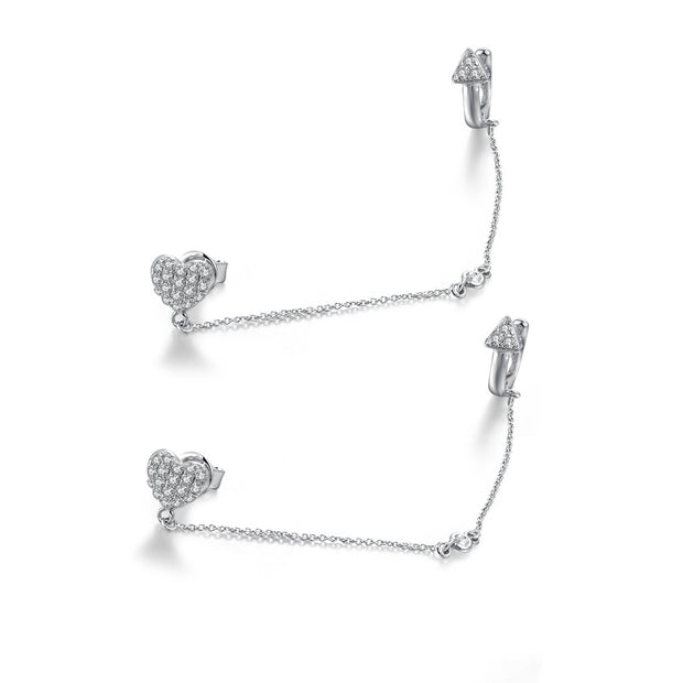 18k Gold Heart Earring Chained With Ear Cuff - Genevieve Collection