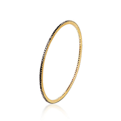 18k Gold One Line Black Diamond Bangle - Genevieve Collection
