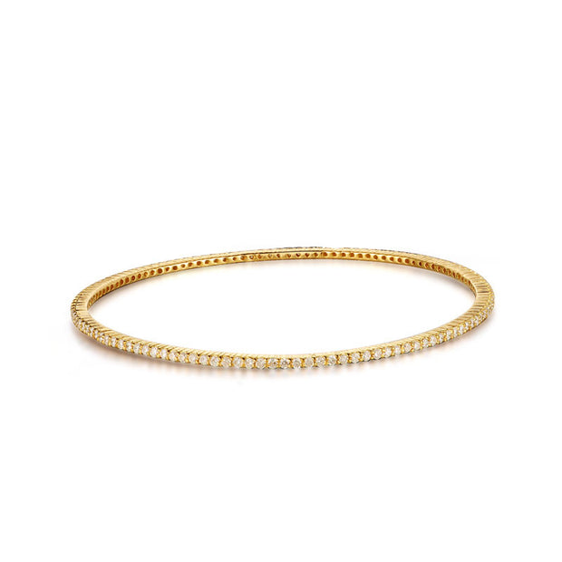 18k Gold One Line White Diamond Bangle - Genevieve Collection