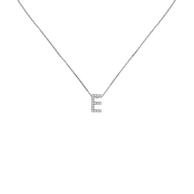 "18k Gold Initial Letter ""E"" Diamond Pendant - Genevieve Collection"