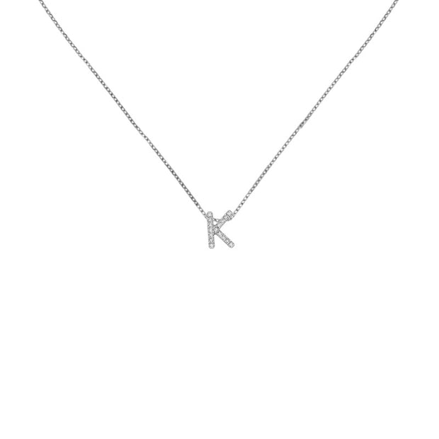 "18k Gold Initial Letter ""K"" Diamond Pandent + Necklace - Genevieve Collection"