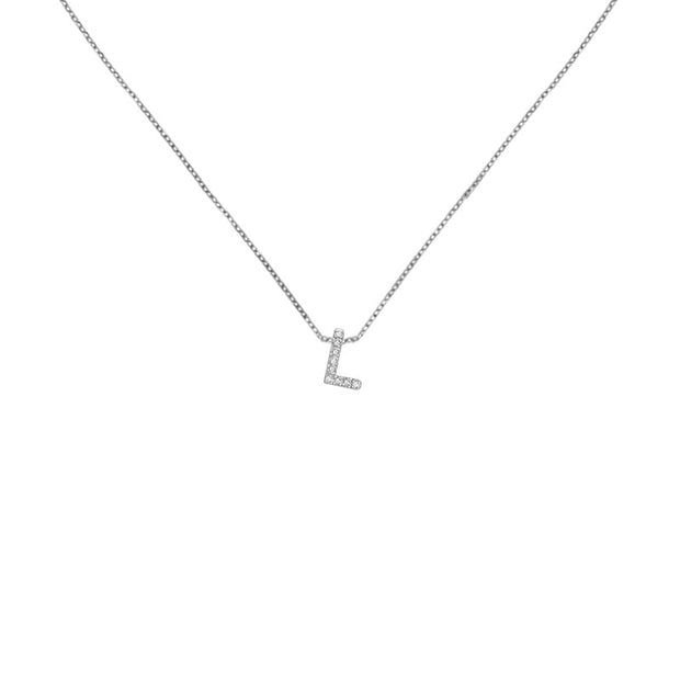 "18k Gold Initial Letter ""L"" Diamond Pandent + Necklace - Genevieve Collection"