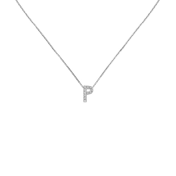 "18k Gold Initial Letter ""P"" Diamond Pendant - Genevieve Collection"