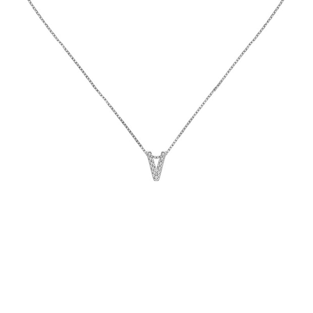 "18k Gold Initial Letter ""V"" Diamond Pandent + Necklace - Genevieve Collection"