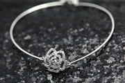 18k Gold Diamond Rose Bangle - Genevieve Collection