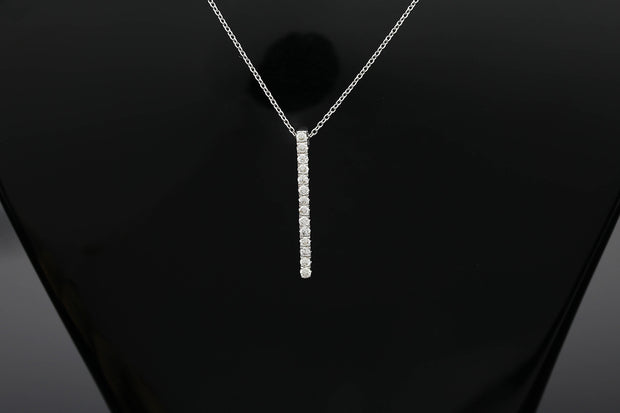 18k Gold Vertical Line Necklace - Genevieve Collection
