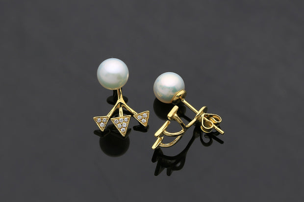 18k Gold Pearl With Triangle Ear Jacket Earring - Genevieve Collection