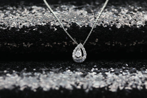 18k Gold Water Drop Shape Diamond Necklace - Genevieve Collection