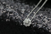 18k Gold Sun Flower Shape Diamond Necklace - Genevieve Collection