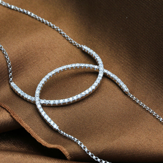 18k Gold Connected Curve Diamond Bracelet - Genevieve Collection