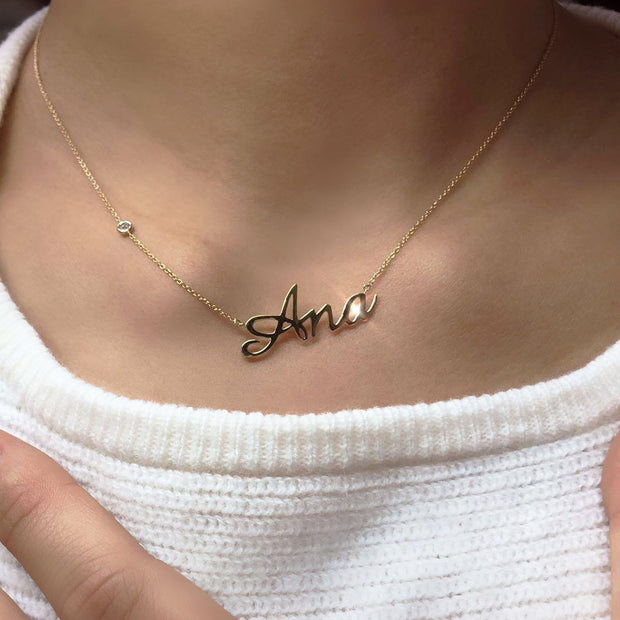 18k Gold Personalized Name 18k Gold (Full Filled) Diamond Necklace - Genevieve Collection
