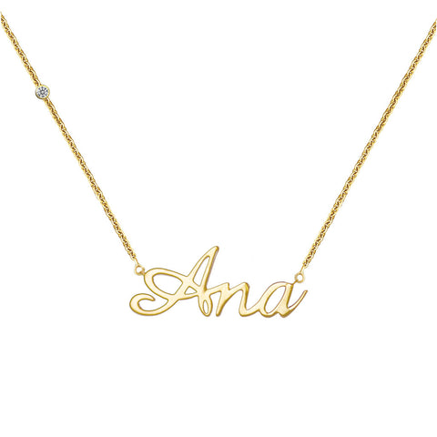 Personalized Name 18k Gold (Full Filled) Diamond Necklace