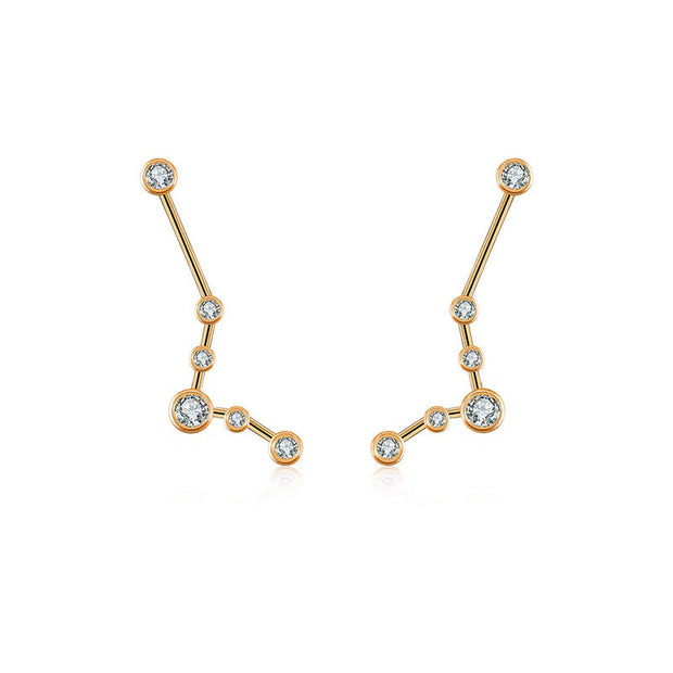 Pisces Zodiac Constellation Earring 18k Gold & Diamond - Genevieve Collection