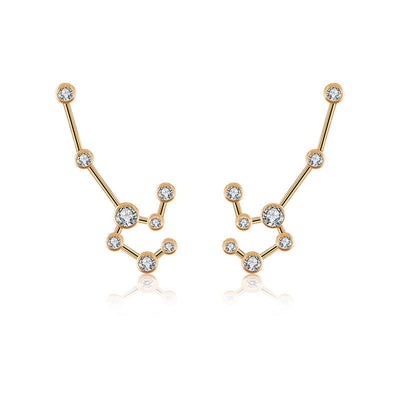 Leo Zodiac Constellation Earring 18k Gold & Diamond - Genevieve Collection