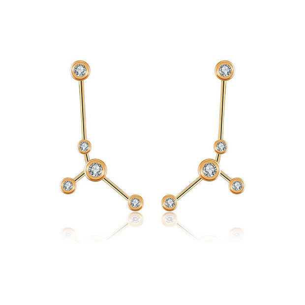 Cancer Zodiac Constellation Earring 18k Gold & Diamond - Genevieve Collection