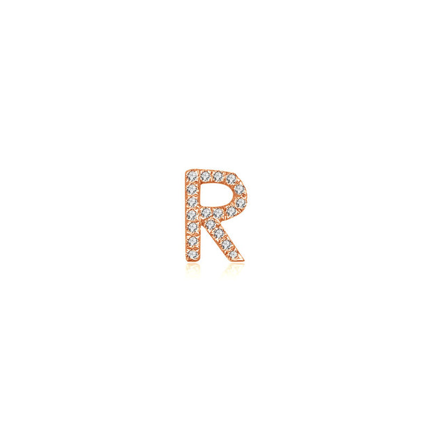 "18k Gold Letter ""R"" Diamond Charms"