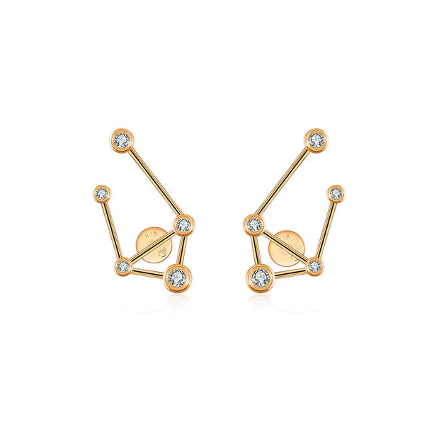 18k Gold Libra Diamond Earring - Genevieve Collection